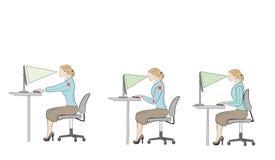 Assento correto em conselhos da ergonomia da postura da mesa Fotografia de Stock