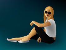 Assento da mulher nova Imagens de Stock
