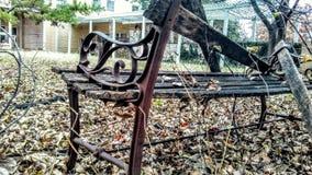 Assento de amor de madeira Fotografia de Stock
