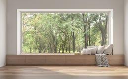 Assento de janela lateral com opinião 3d da natureza para render ilustração royalty free