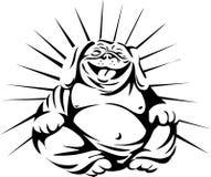 Assento de riso da Buda do buldogue preto e branco Imagem de Stock Royalty Free