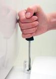 Assento de toalete fêmea da fixação do parafuso da chave de fenda da mão Imagem de Stock Royalty Free