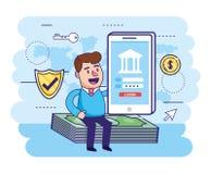 Assento do homem nas contas e smartphone com banco digital ilustração royalty free