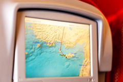 Assento do ` s do avião com monitor do LCD fotografia de stock royalty free