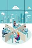 Assento e cidade dos trabalhadores de escritório Foto de Stock Royalty Free