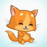 Assento e sorriso alaranjados do gato Ilustração bonito do vetor da vaquinha Fotos de Stock Royalty Free