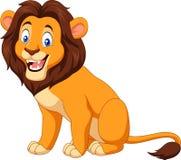 Assento feliz do leão dos desenhos animados Fotos de Stock