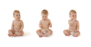 Assento louro da bebê-menina Fotografia de Stock Royalty Free