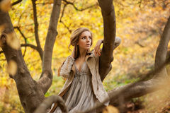Assento modelo da menina à moda em um ramo de árvore com os suportes de uma mão Fotos de Stock