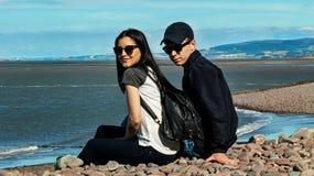 Assento na praia do Minehead imagens de stock royalty free