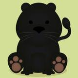 Assento pequeno bonito da pantera preta dos desenhos animados do vetor isolado Imagens de Stock Royalty Free