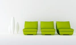 Assento três verde na sala de espera Foto de Stock