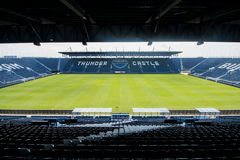 Assentos azuis no staduim Imagens de Stock Royalty Free