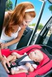 Assentos do bebê no banco de carro Foto de Stock Royalty Free