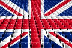 Assentos do estádio da bandeira de Reino Unido Conceito da competição de esportes Foto de Stock