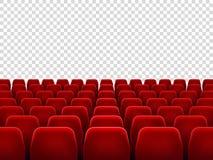 Assentos no salão do filme ou na cadeira vazia do assento para a sala da seleção do filme Poltronas vermelhas isoladas para o cin ilustração royalty free