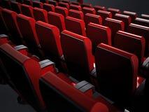 Assentos vermelhos vazios do cinema ilustração 3D ilustração royalty free