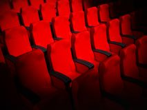Assentos vermelhos vazios do cinema ilustração 3D ilustração do vetor