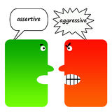 Assertief tegenover agressief Stock Foto's