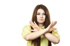 Assertieve vrouw die eindegebaar tonen stock afbeelding