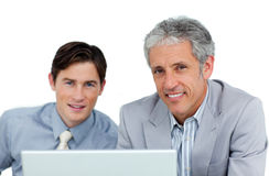 Assertive business partners working at a computer Stock Images