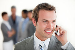 Assertive businessman on phone Royalty Free Stock Photos