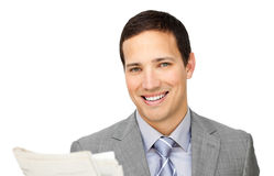 Assertive businessman reading a newspaper Stock Photos