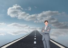 Assertive businessman standing on street Royalty Free Stock Photography