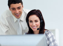 Assertive manager checking his employee's work Royalty Free Stock Images
