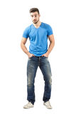 Assertive young man walking forward Royalty Free Stock Photos