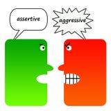 Assertivo contro aggressivo Fotografie Stock
