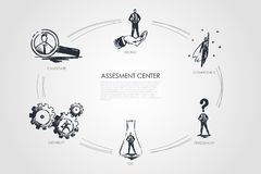 Assesment si concentra - la competenza, prova, personalità, l'idoneità, concetto stabilito della recluta illustrazione di stock