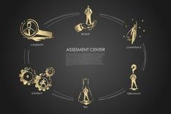 Assesment si concentra - la competenza, prova, personalità, l'idoneità, concetto stabilito della recluta illustrazione vettoriale