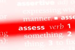 Assess. Word in a dictionary.  concept royalty free stock photo