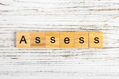 ASSESS word made with wooden blocks concept Stock Photography