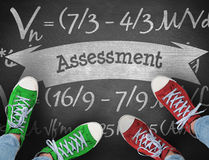 Assessment against black background. The word assessment and casual shoes against black background stock image