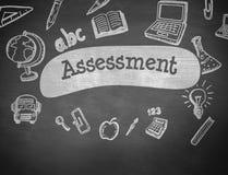 Assessment against black background Stock Photos