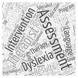 Assessment Choices For Adult Dyslexia word cloud concept background. Text royalty free illustration