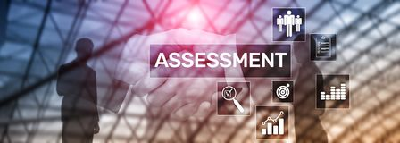 Assessment Evaluation Measure Analytics Analysis Business and Technology concept on blurred background. Assessment Evaluation Measure Analytics Analysis royalty free illustration