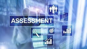 Assessment Evaluation Measure Analytics Analysis Business and Technology concept on blurred background. Assessment Evaluation Measure Analytics Analysis stock image