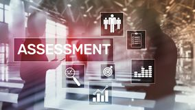 Assessment Evaluation Measure Analytics Analysis Business and Technology concept on blurred background. Assessment Evaluation Measure Analytics Analysis stock images