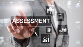 Assessment Evaluation Measure Analytics Analysis Business and Technology concept on blurred background.  stock image