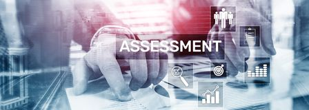 Assessment Evaluation Measure Analytics Analysis Business and Technology concept on blurred background. Assessment Evaluation Measure Analytics Analysis royalty free stock images