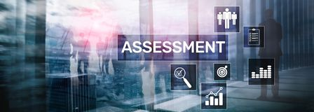 Assessment Evaluation Measure Analytics Analysis Business and Technology concept on blurred background. Assessment Evaluation Measure Analytics Analysis stock photography