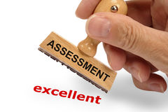 Assessment excellent printed with stamp Royalty Free Stock Image