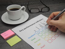 Assessment of key performance indicators. Assessment of the company on five key performance indicators Stock Photo