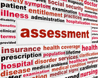 Assessment medical words concept. Health care issue creative background royalty free illustration