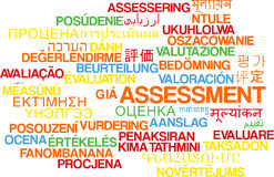 Assessment multilanguage wordcloud background concept Royalty Free Stock Images
