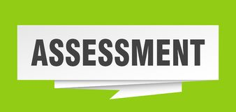 Assessment. Sign.  paper origami speech bubble.  tag.  banner stock illustration