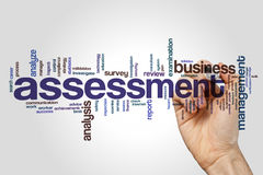Assessment word cloud concept on grey background.  royalty free stock images